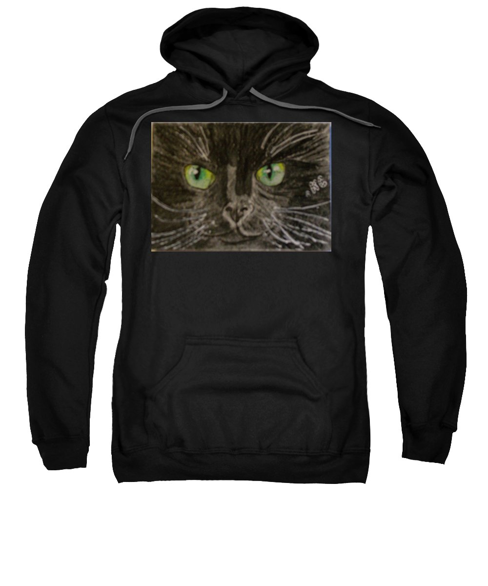Halloween Sweatshirt featuring the painting Halloween Black Cat I by Kathy Marrs Chandler