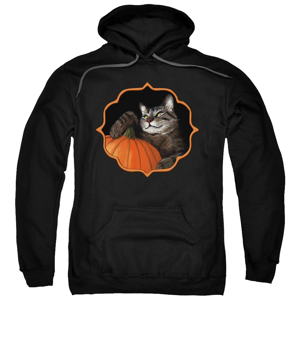 Cat Sweatshirt featuring the painting Halloween Cat by Anastasiya Malakhova