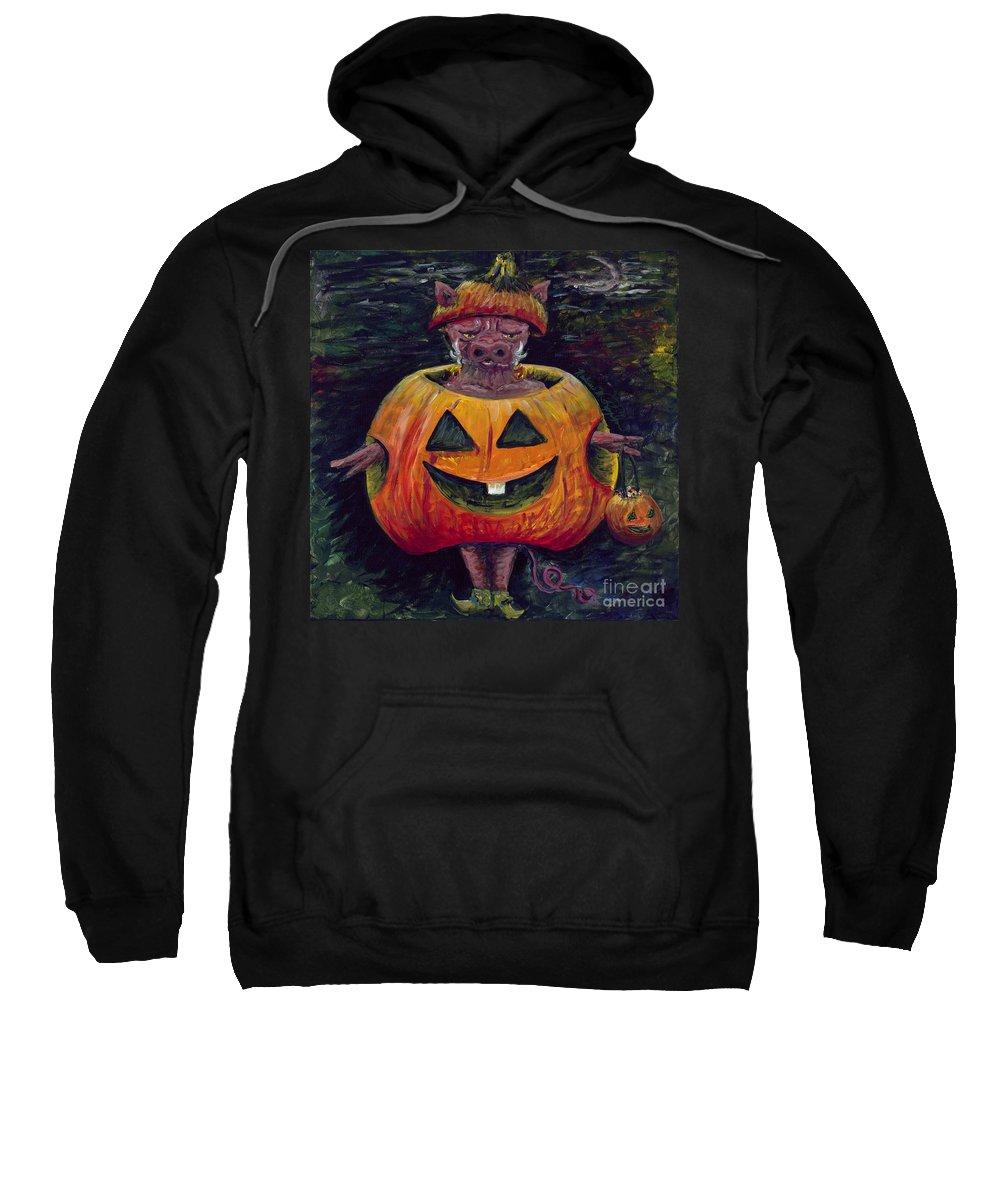 Halloween Sweatshirt featuring the painting Halloween Hog by Nadine Rippelmeyer
