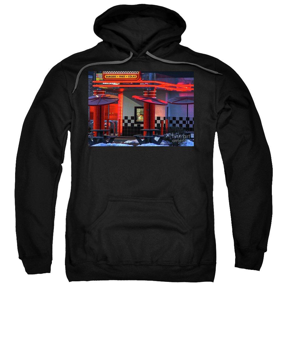 Street Photos Sweatshirt featuring the photograph Hamburgs-fries-colas by Robert Pearson