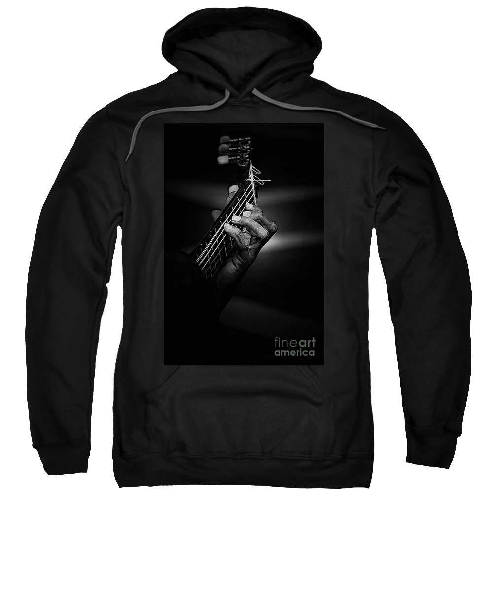 Guitar Sweatshirt featuring the photograph Hand Of A Guitarist In Monochrome by Sheila Smart Fine Art Photography