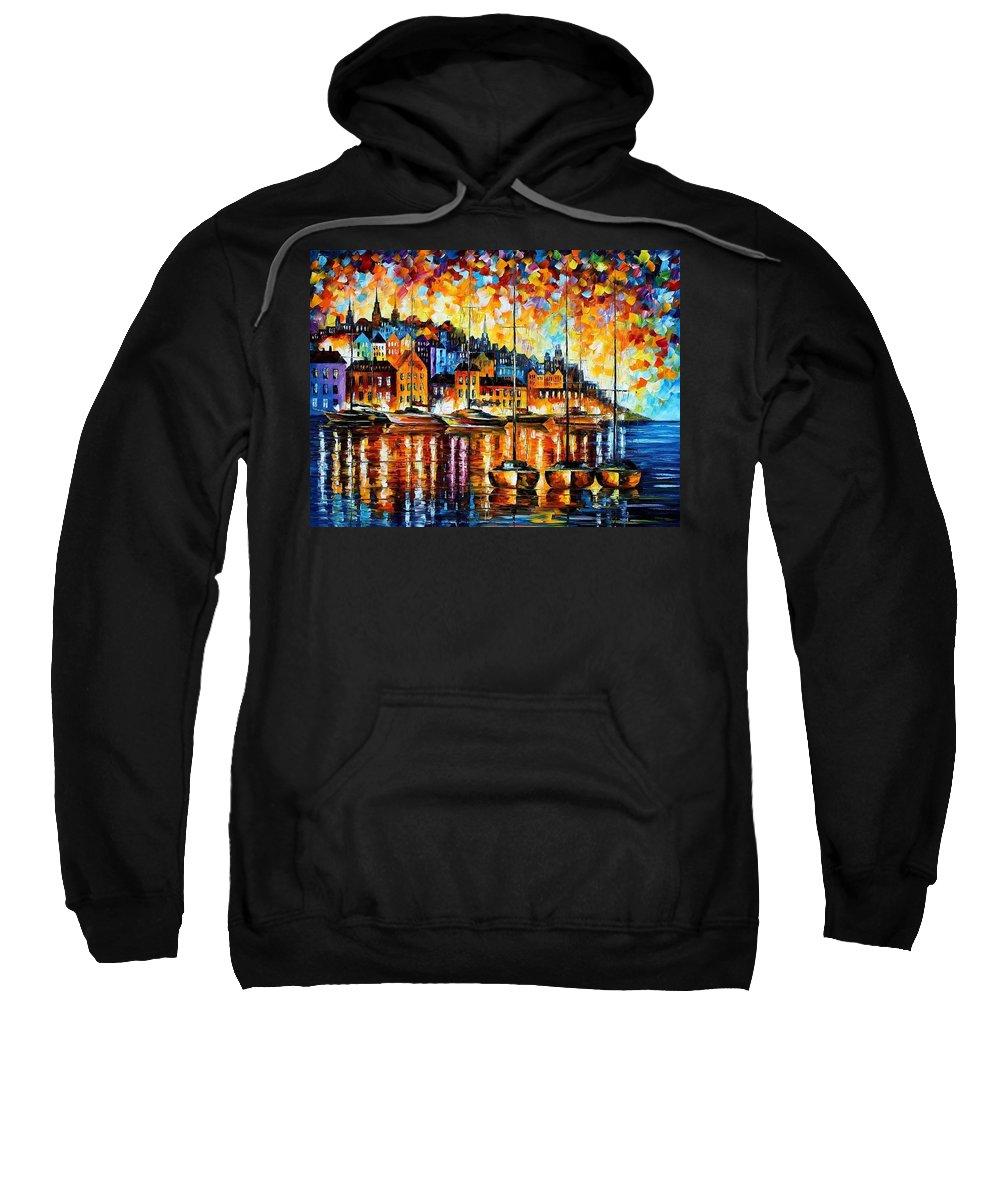 Afremov Sweatshirt featuring the painting Harbor Of Corsica by Leonid Afremov