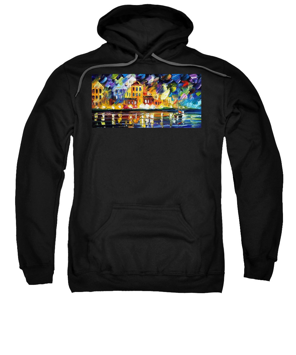 Afremov Sweatshirt featuring the painting Harbor's Flames by Leonid Afremov