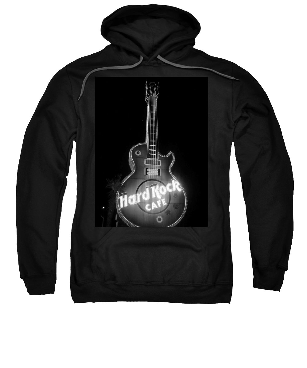 Vegas Sweatshirt featuring the photograph Hard Rock Cafe Sign B-w by Anita Burgermeister