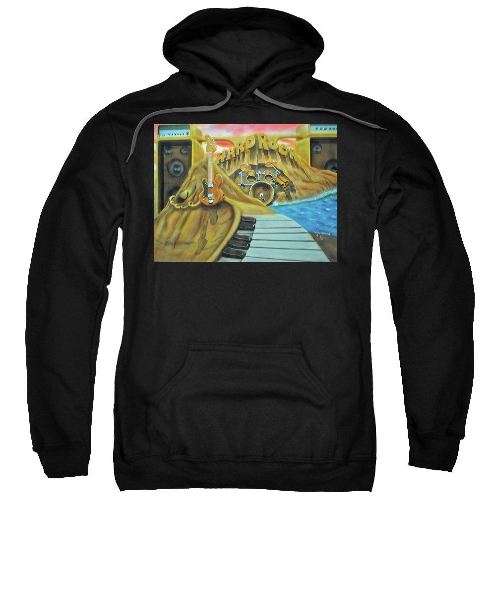 Heavy Metal Sweatshirt featuring the painting Hard Rock by Thomas J Herring