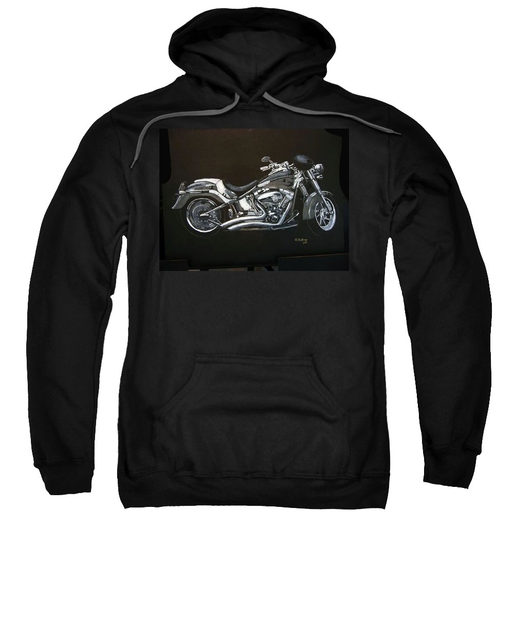 Harley Davidson Sweatshirt featuring the painting Harley Davidson by Richard Le Page