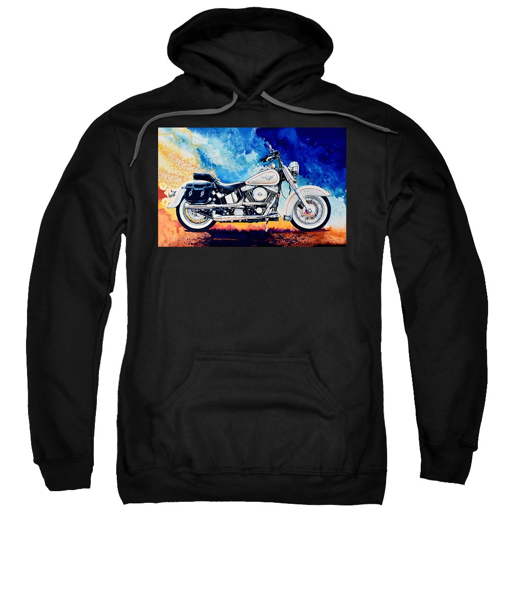 Harley Davidson Heritage Softail Sweatshirt featuring the painting Harley Hog II by Hanne Lore Koehler