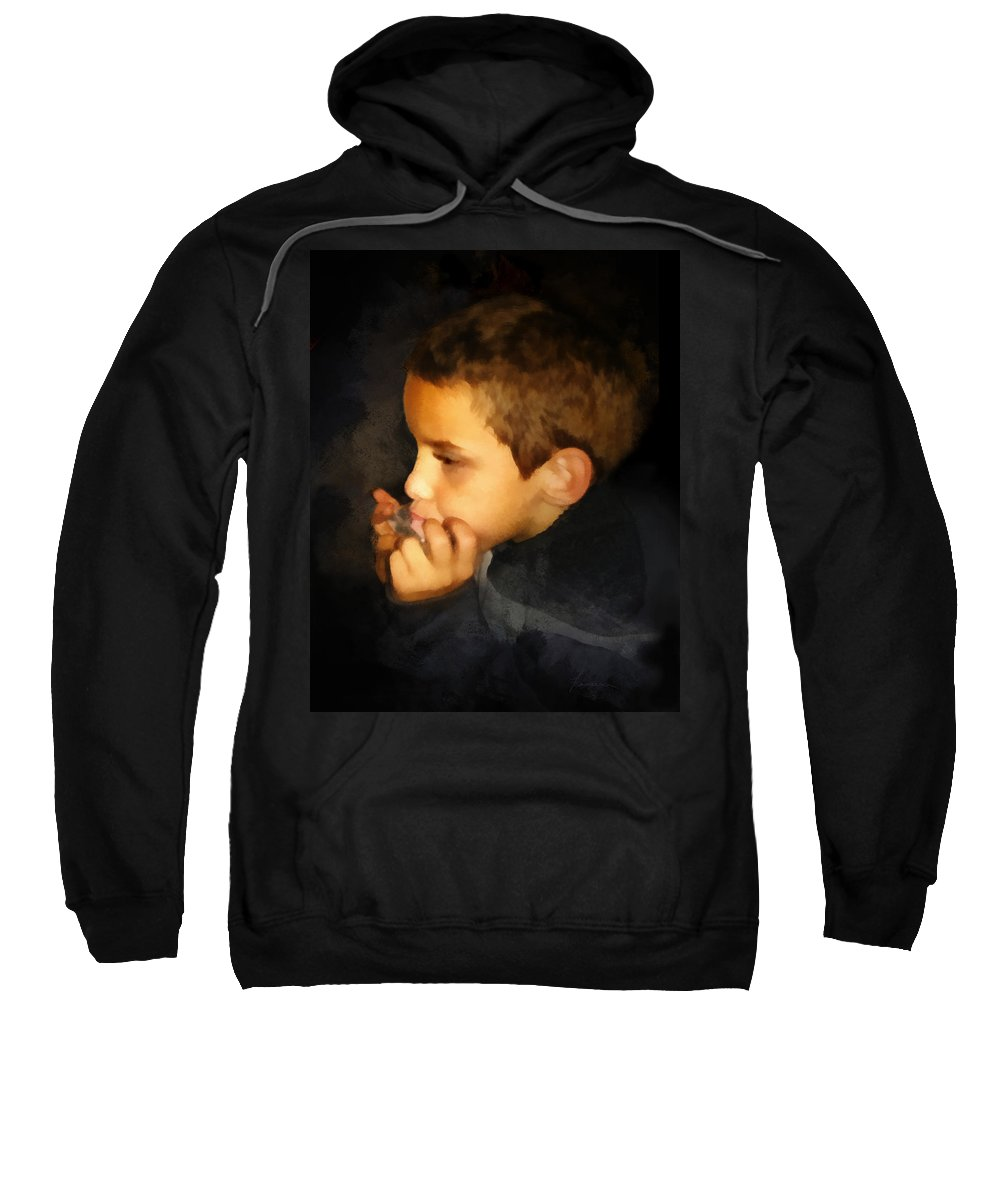 Harmonica Sweatshirt featuring the digital art Harmonica Player by Francesa Miller