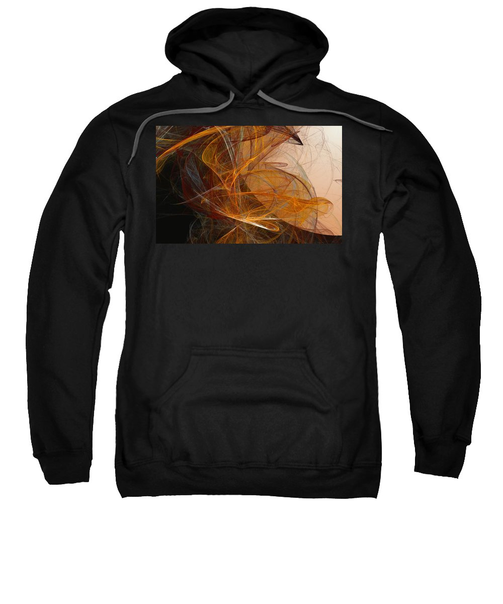 Abstract Expressionism Sweatshirt featuring the digital art Harvest Moon by David Lane