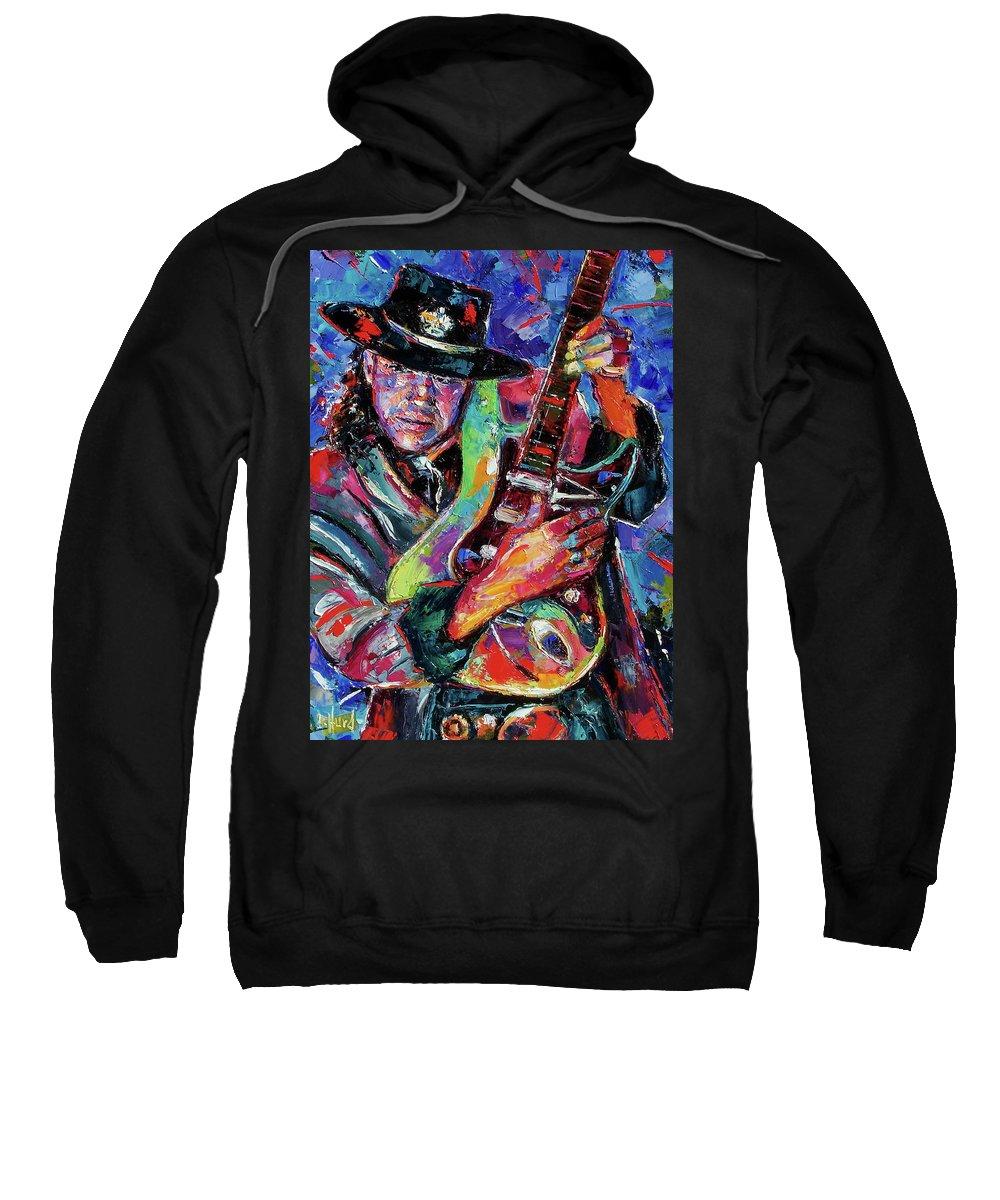 Stevie Ray Vaughan Sweatshirt featuring the painting Hat And Guitar by Debra Hurd