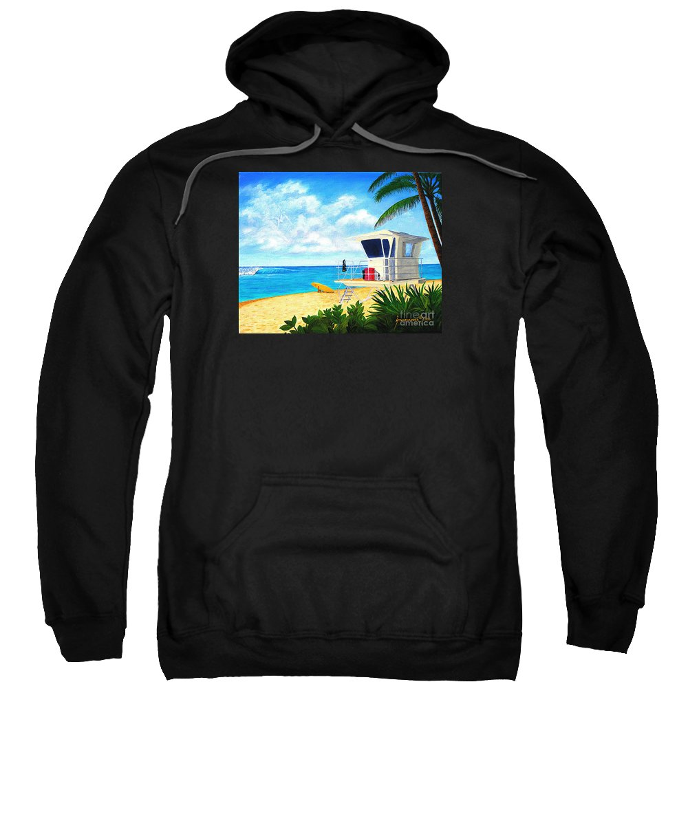 Hawaii Sweatshirt featuring the painting Hawaii North Shore Banzai Pipeline by Jerome Stumphauzer