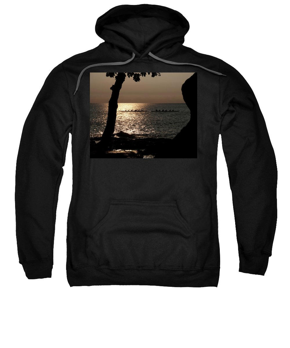 Hawaii Sweatshirt featuring the photograph Hawaiian Dugout Canoe Race At Sunset by Michael Bessler