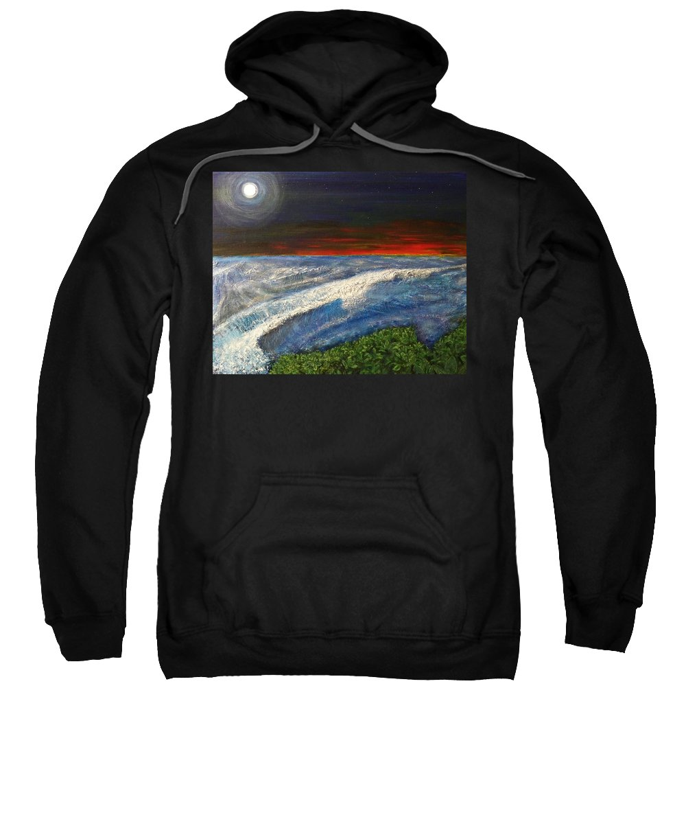 Beaches Sweatshirt featuring the painting Hawiian View by Michael Cuozzo