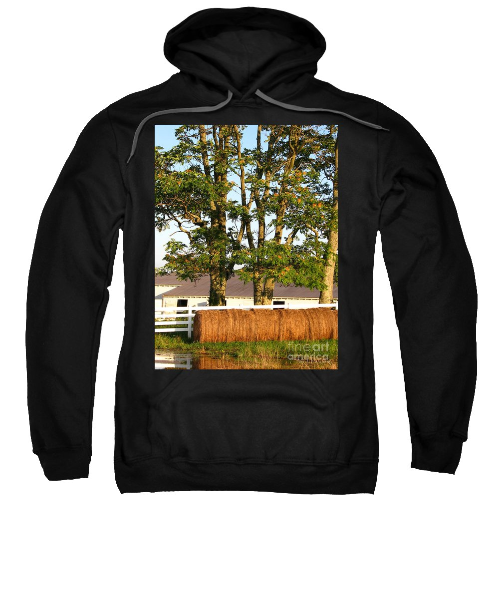 Landscape Sweatshirt featuring the photograph Hay Bales And Trees by Todd A Blanchard