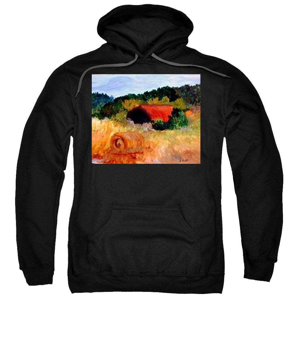 Hayrolls Sweatshirt featuring the painting Hayrolls by Gail Kirtz