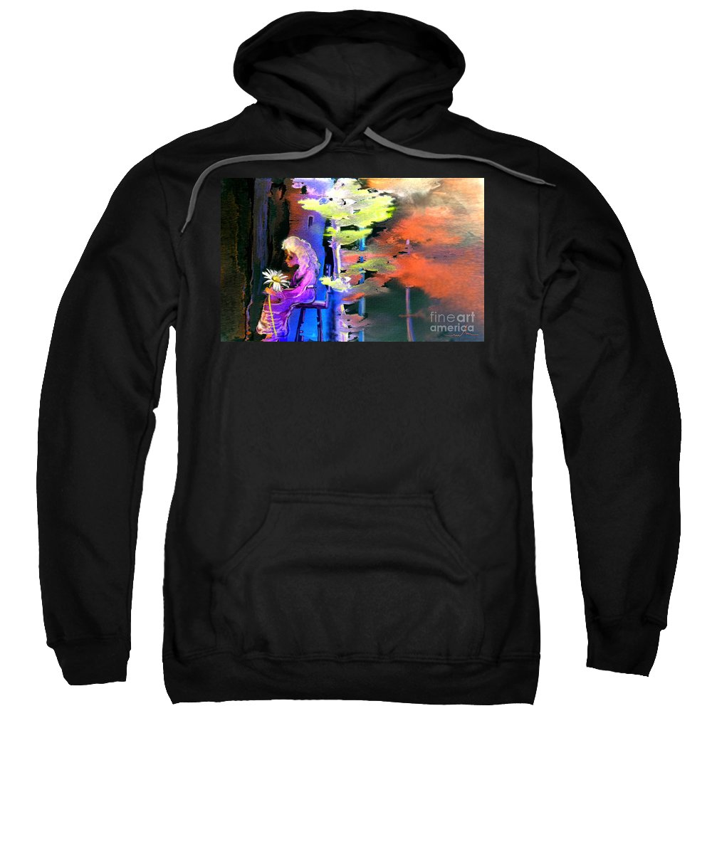 Dream Sweatshirt featuring the painting He Loves Me He Loves Me Not by Miki De Goodaboom
