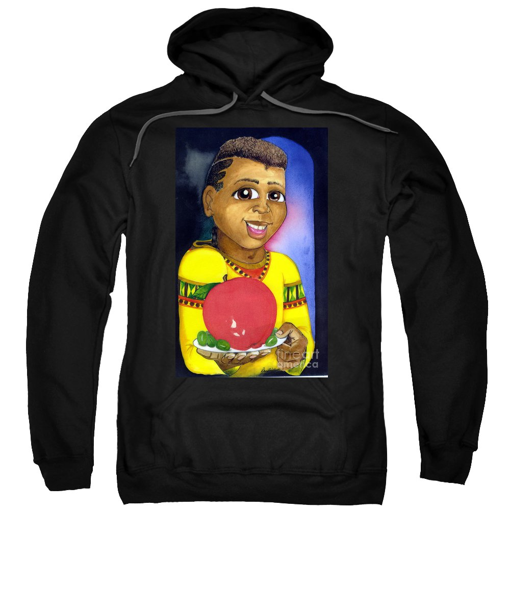 Boy Sweatshirt featuring the mixed media Healthy Eating by David Willis