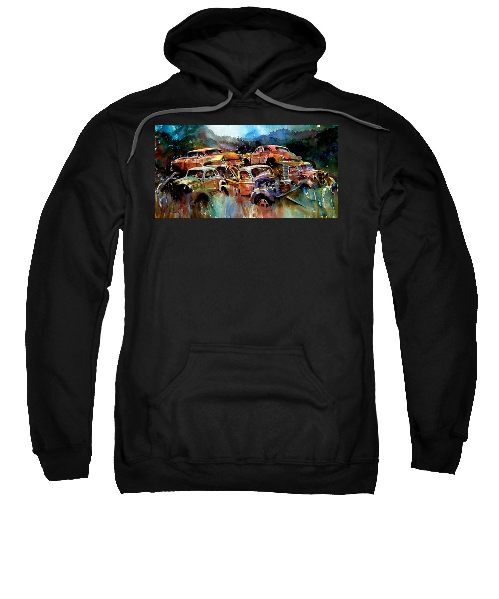 Cars Sweatshirt featuring the painting Heaped Wrecks by Ron Morrison