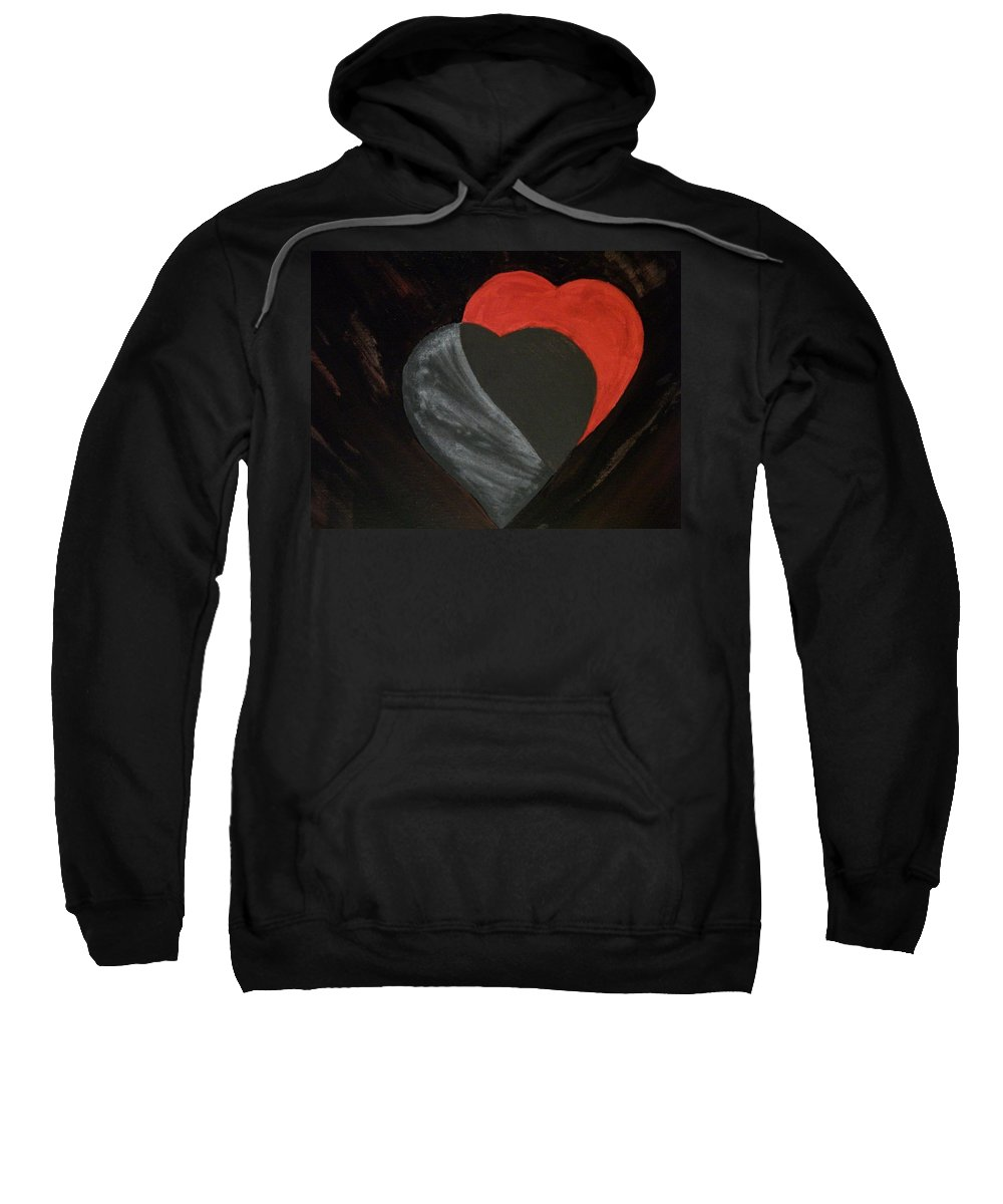 Red Sweatshirt featuring the painting Heart Blocker by Laurette Escobar