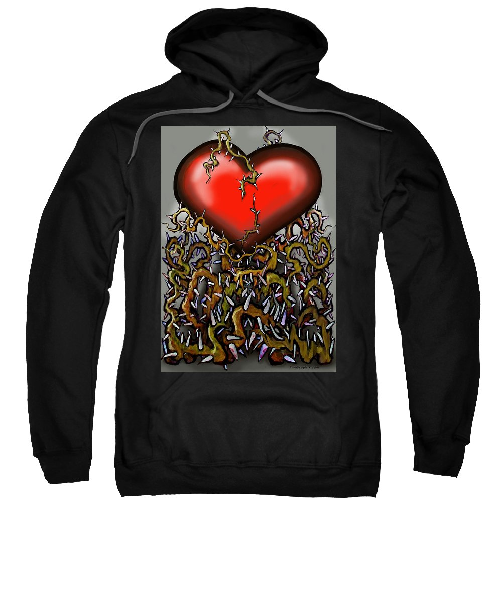 Heart Sweatshirt featuring the painting Heart N Thorns by Kevin Middleton