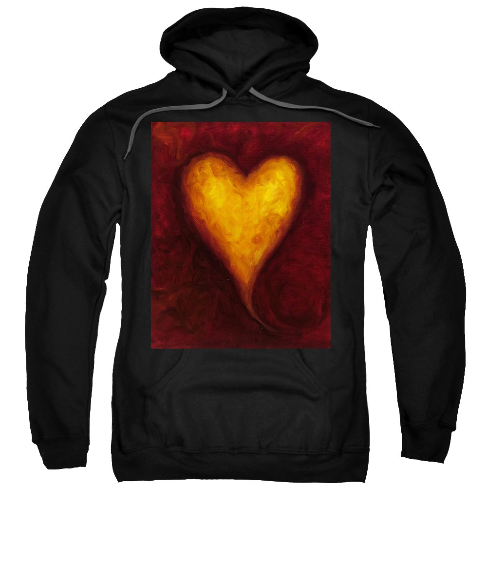 Heart Sweatshirt featuring the painting Heart of Gold 1 by Shannon Grissom