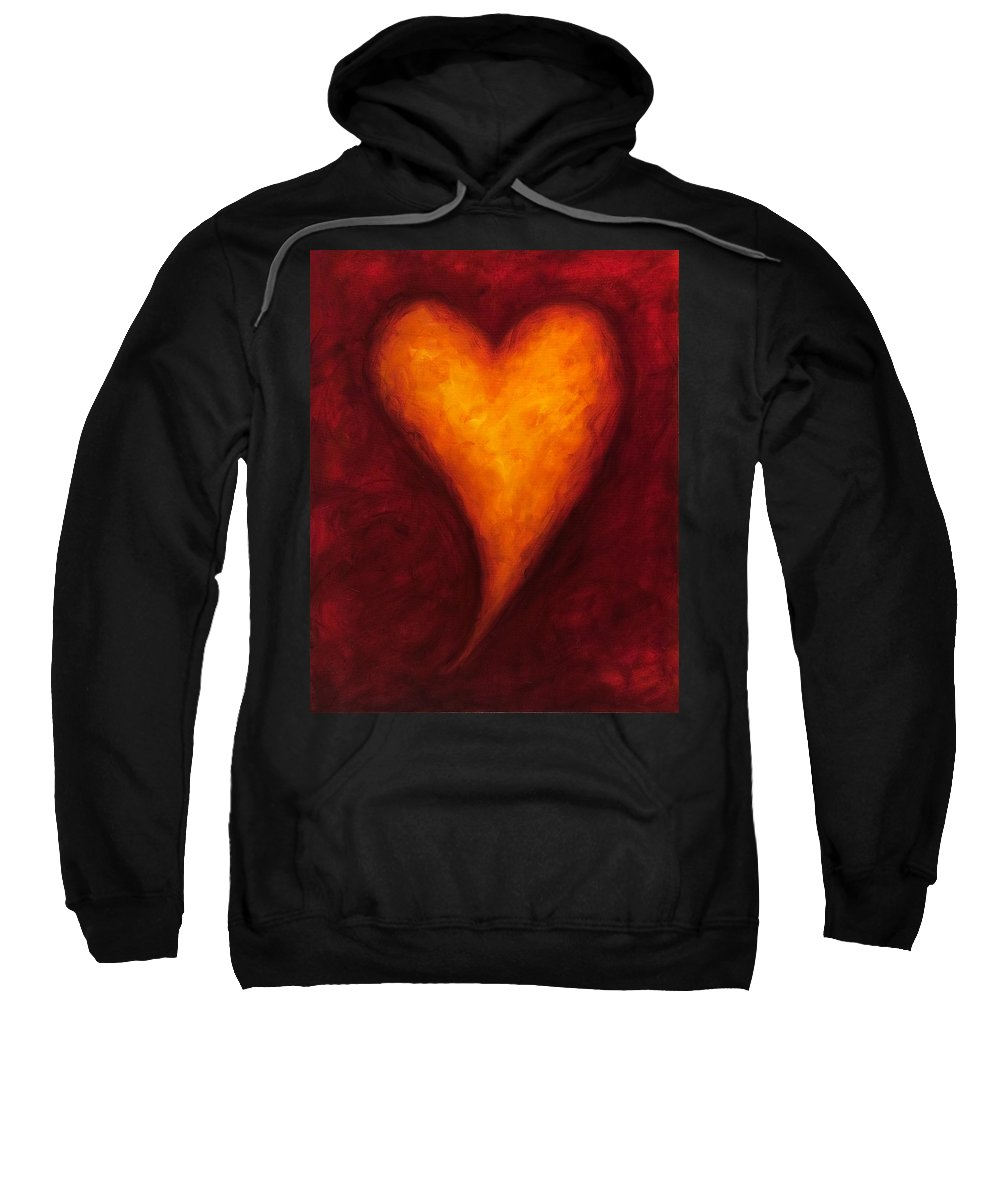 Heart Sweatshirt featuring the painting Heart Of Gold 2 by Shannon Grissom