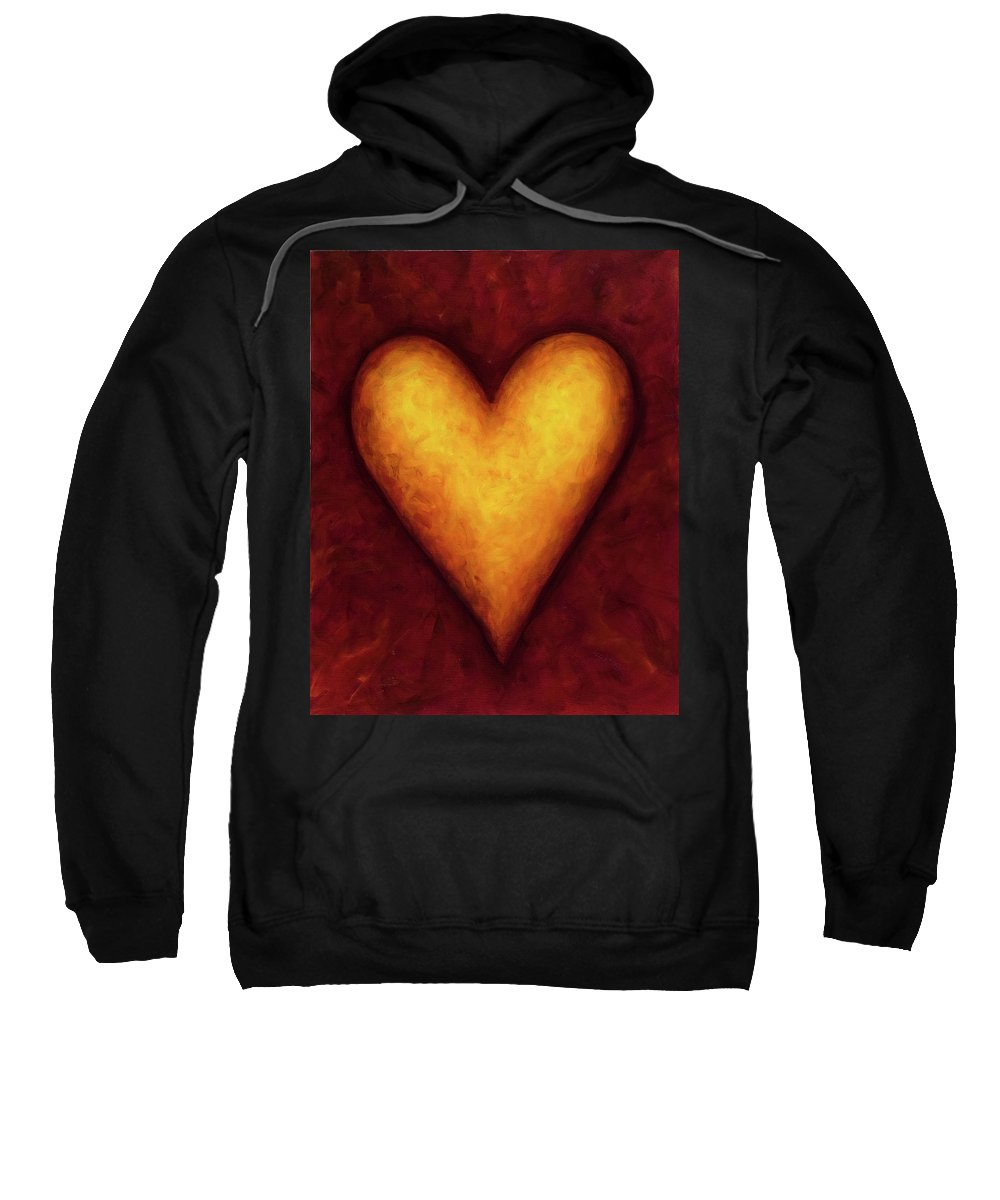 Heart Sweatshirt featuring the painting Heart Of Gold 4 by Shannon Grissom
