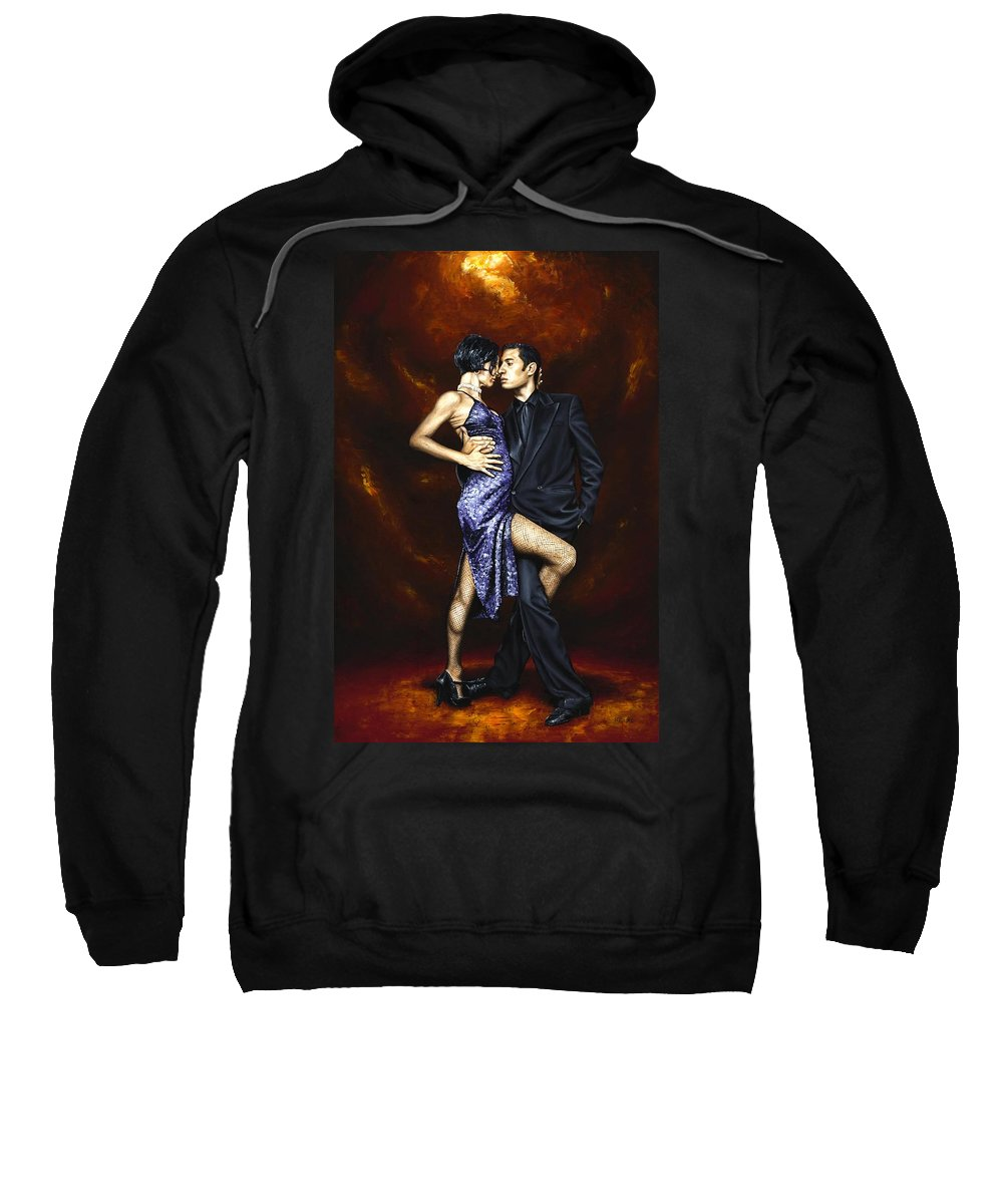 Tango Dancers Love Passion Female Male Woman Man Dance Sweatshirt featuring the painting Held In Tango by Richard Young