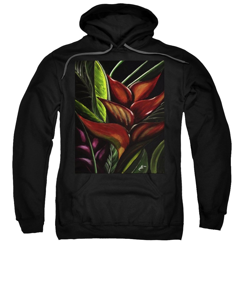 Acrylic Sweatshirt featuring the painting Heliconia Flower by Kim Selig