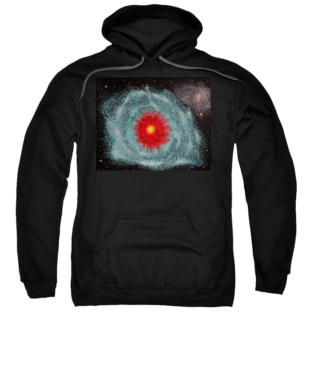 Outer Space Nebula Sweatshirt featuring the painting Helix Nebula by Georgeta Blanaru