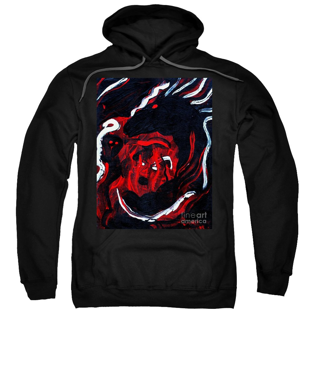 Horse Woman Red Black Silver Sweatshirt featuring the painting Hell Beast by Dawn Downour