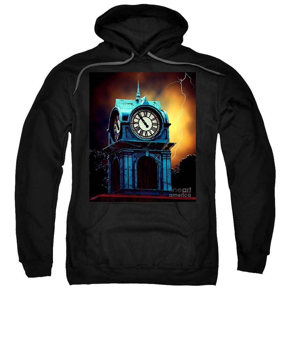 Blood Sweatshirt featuring the painting Hells Timeclock by RC DeWinter