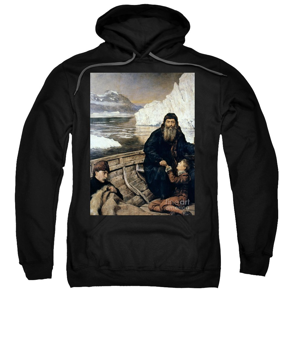 1611 Sweatshirt featuring the painting Henry Hudson And Son by Granger