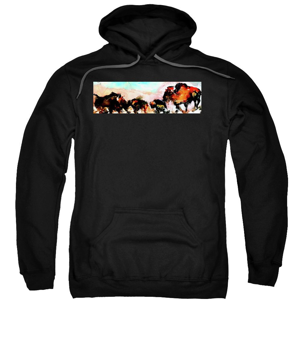 Animals Sweatshirt featuring the painting Herd Of Buffalo by Esther Brown