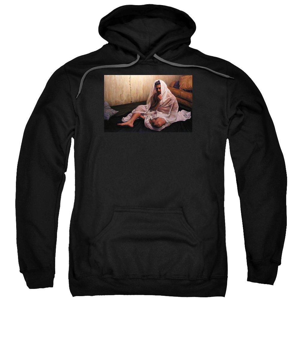 Hermit Sweatshirt featuring the painting Hermit by Joe Velez