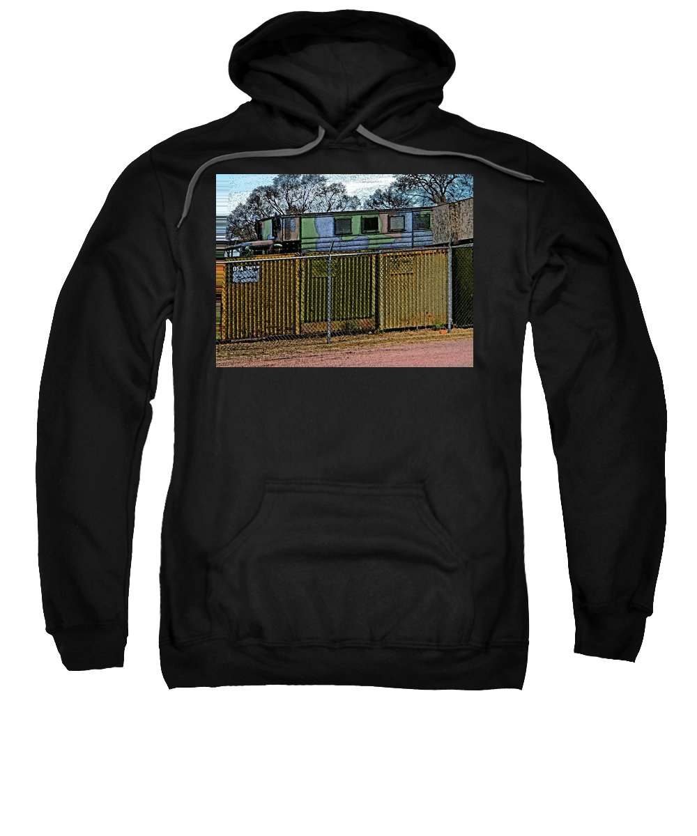 Abstract Sweatshirt featuring the digital art Hiding The Trucks by Lenore Senior