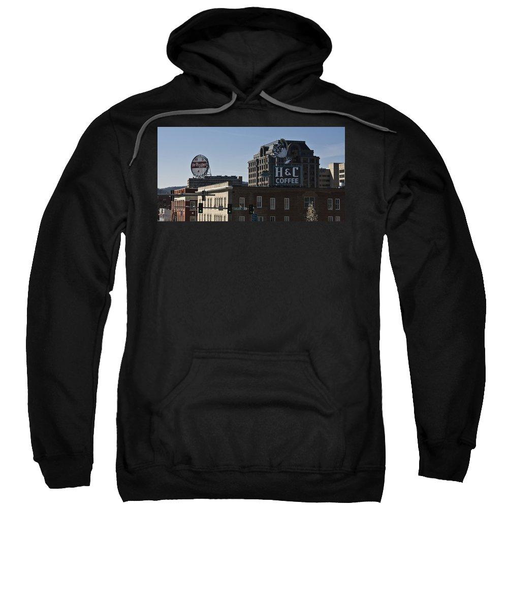 Roanoke Sweatshirt featuring the photograph Historic Landmark Signs Roanoke Virginia by Teresa Mucha