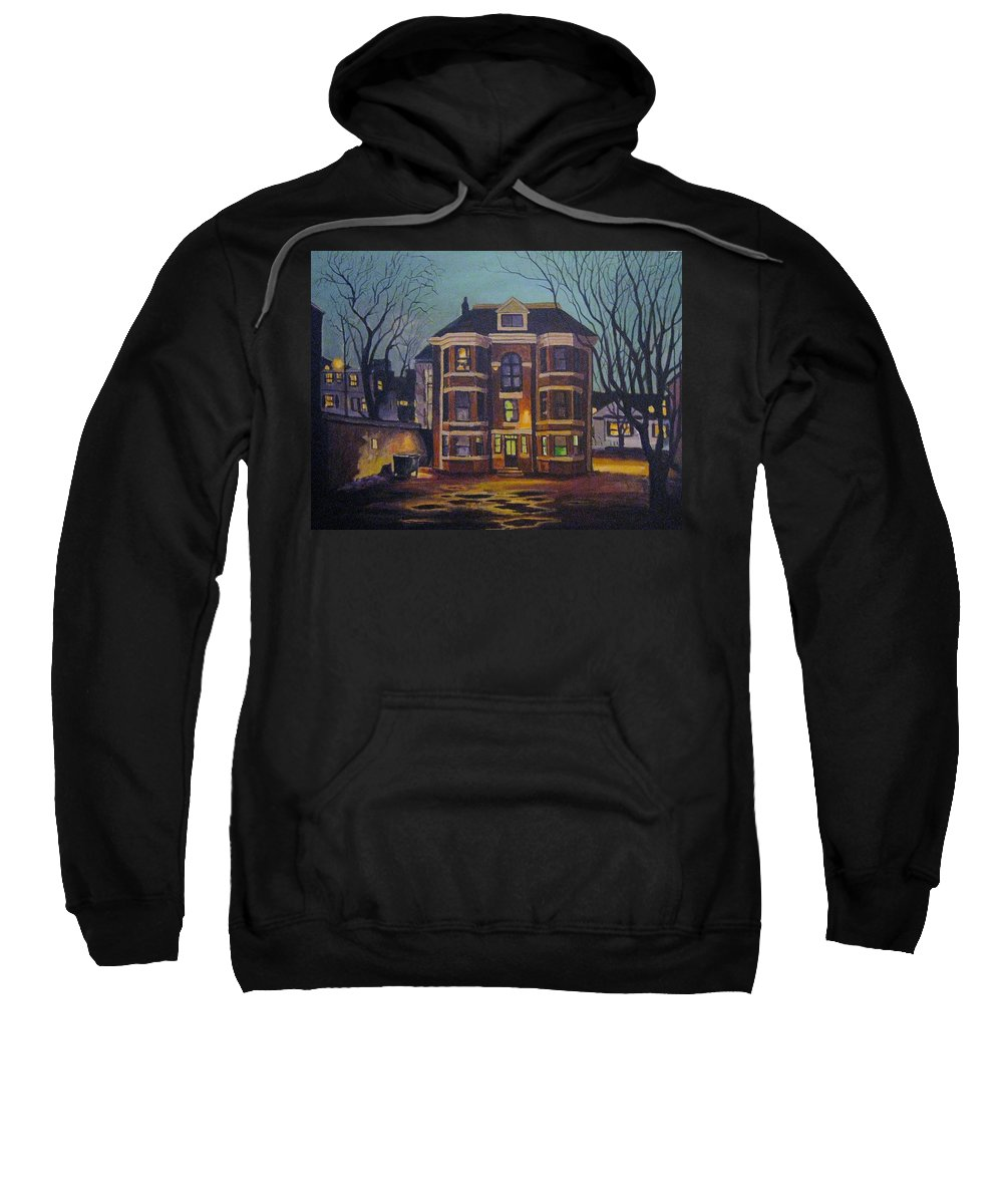 Moody Sweatshirt featuring the painting Historic Property South End Haifax by John Malone