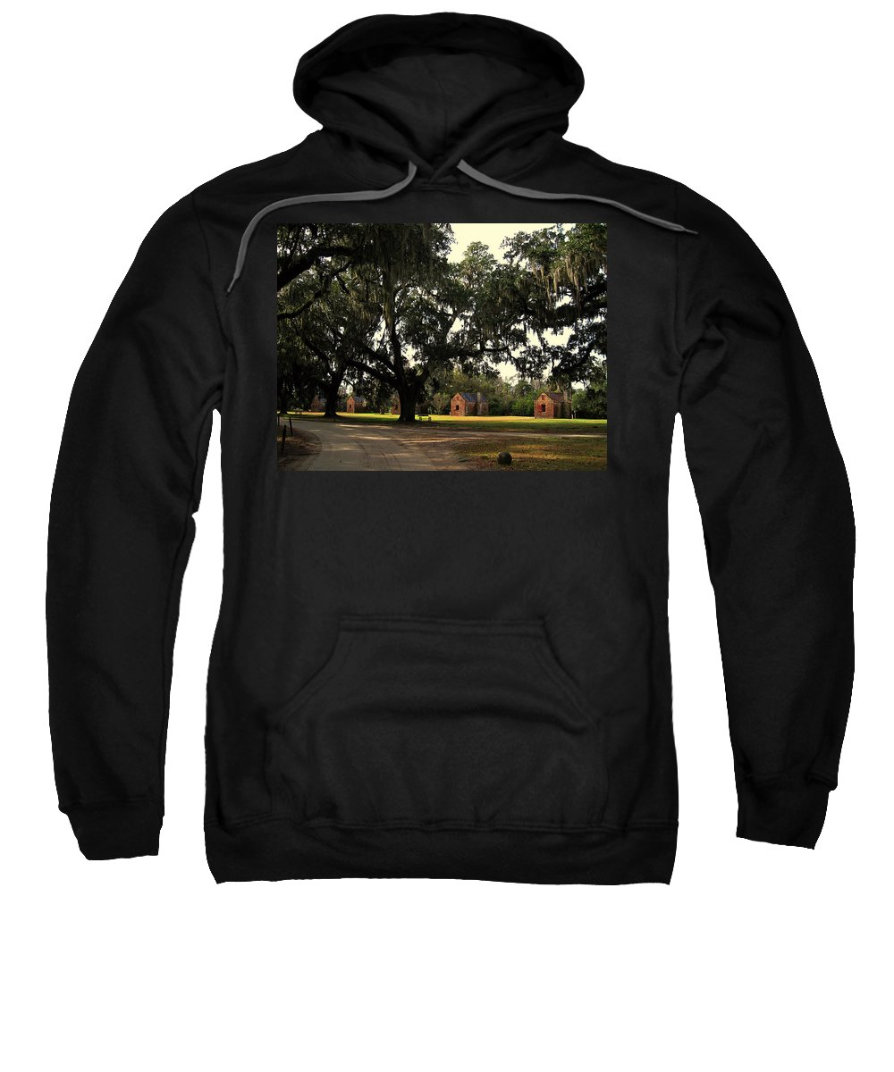 American History Sweatshirt featuring the photograph Historic Slave Houses At Boone Hall Plantation In Sc by Susanne Van Hulst