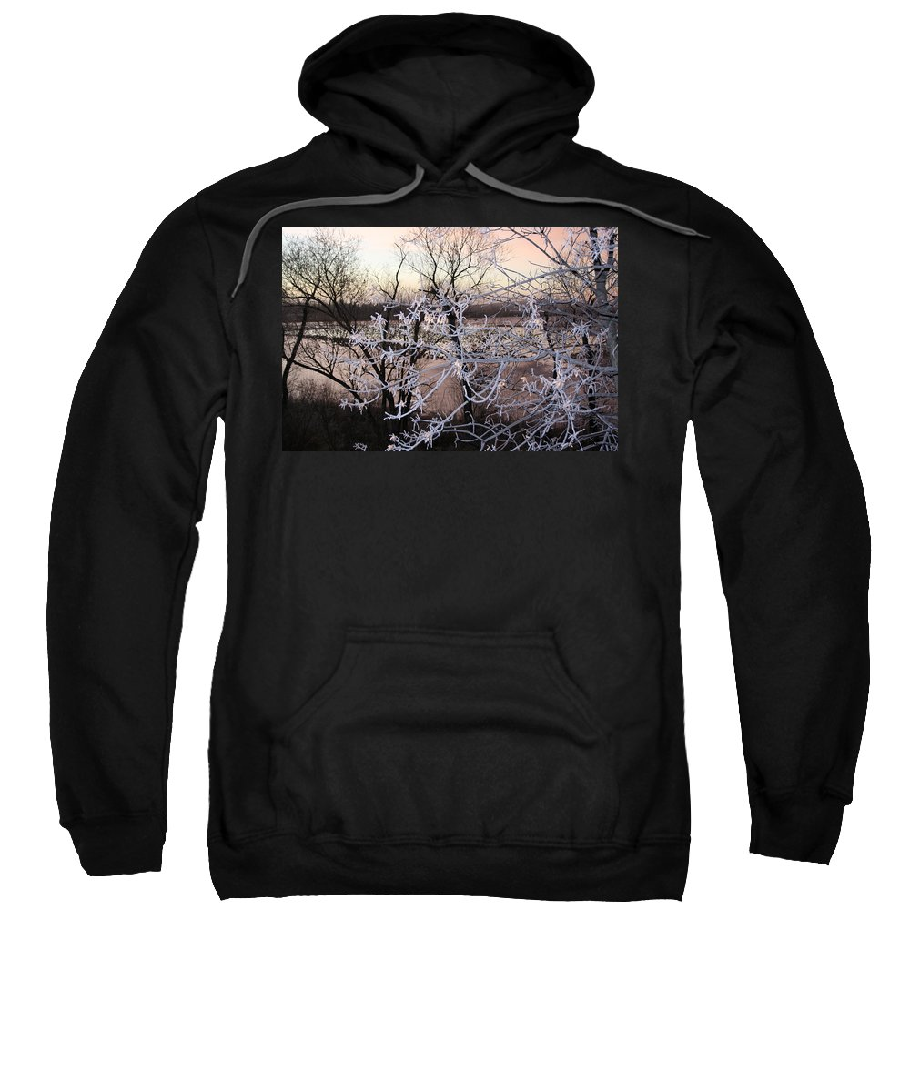 Hoar Frost Trees Lake Water Autumn Winter Ice White Cold Sweatshirt featuring the photograph Hoar Frost by Andrea Lawrence