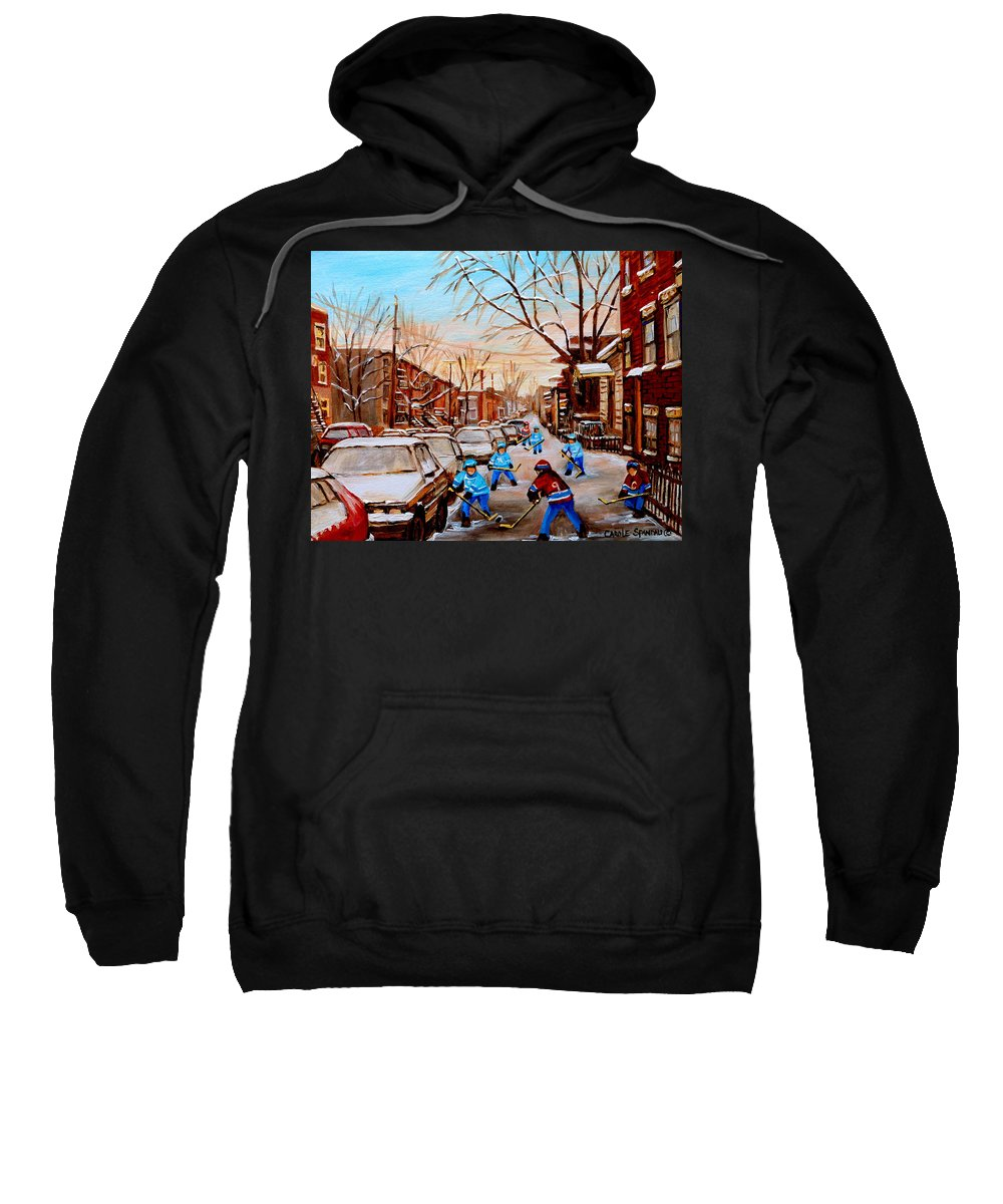 Montreal Sweatshirt featuring the painting Hockey Gameon Jeanne Mance Street Montreal by Carole Spandau
