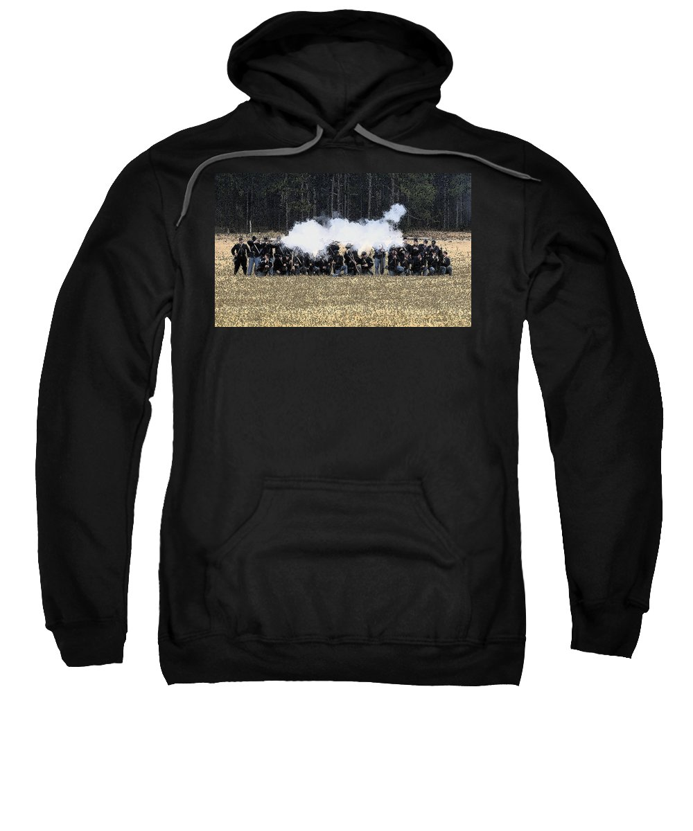 Civil War Sweatshirt featuring the painting Holding The Line by David Lee Thompson