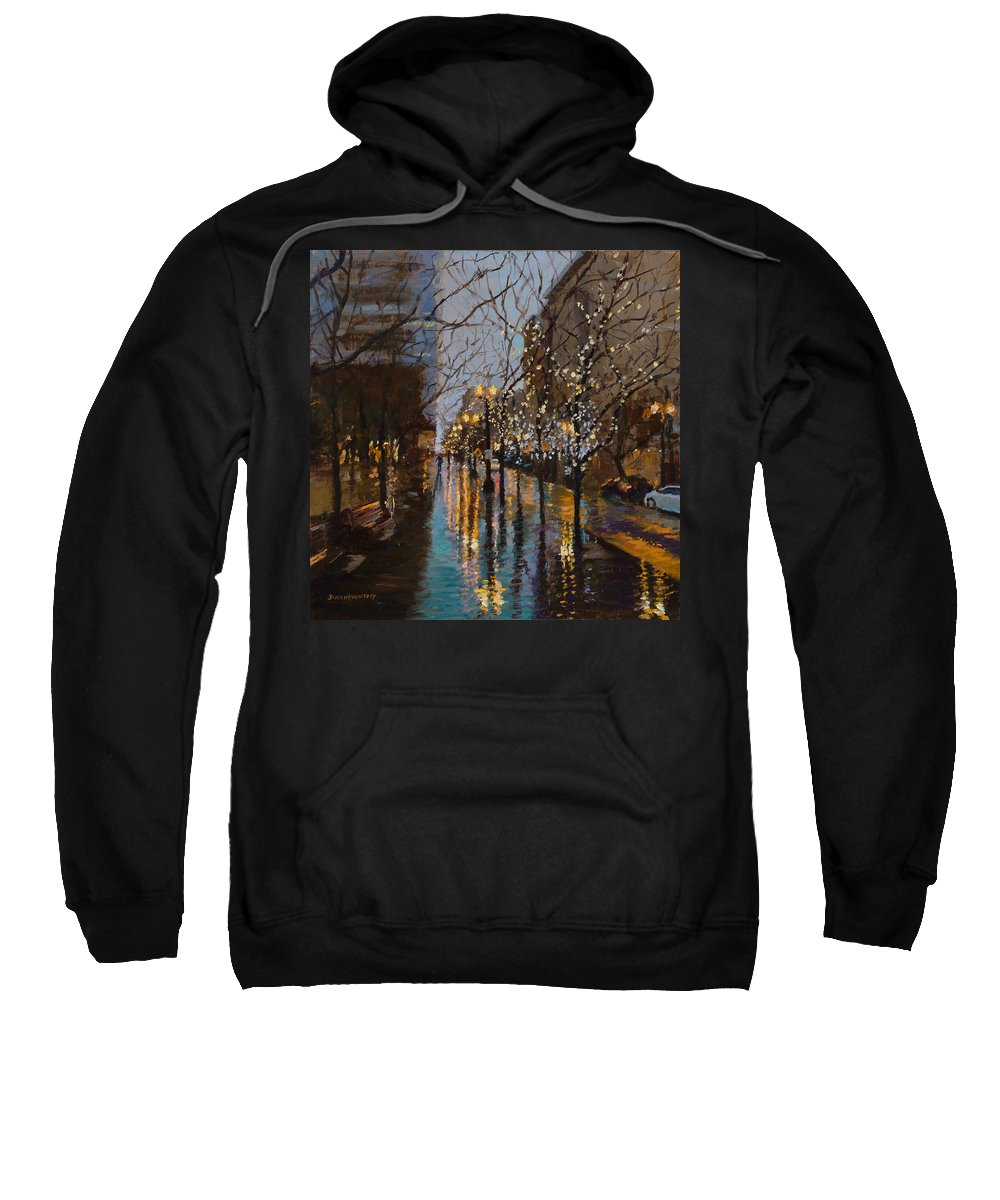 Holiday Sweatshirt featuring the painting Holiday Glow by Susan Kuznitsky