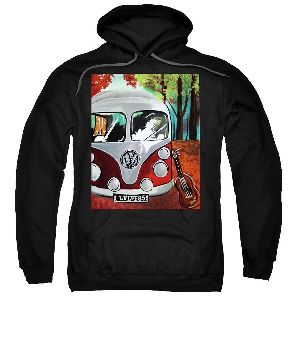 Volkswagon Vw Bus Van Classic Guitar Wilderness Hippie Hippies Wagon Music Free Spirit Reflection Woods Trees Seventies Sixties Retro Vintage Sweatshirt featuring the painting Home Is Where The Van Is by Lori Teich