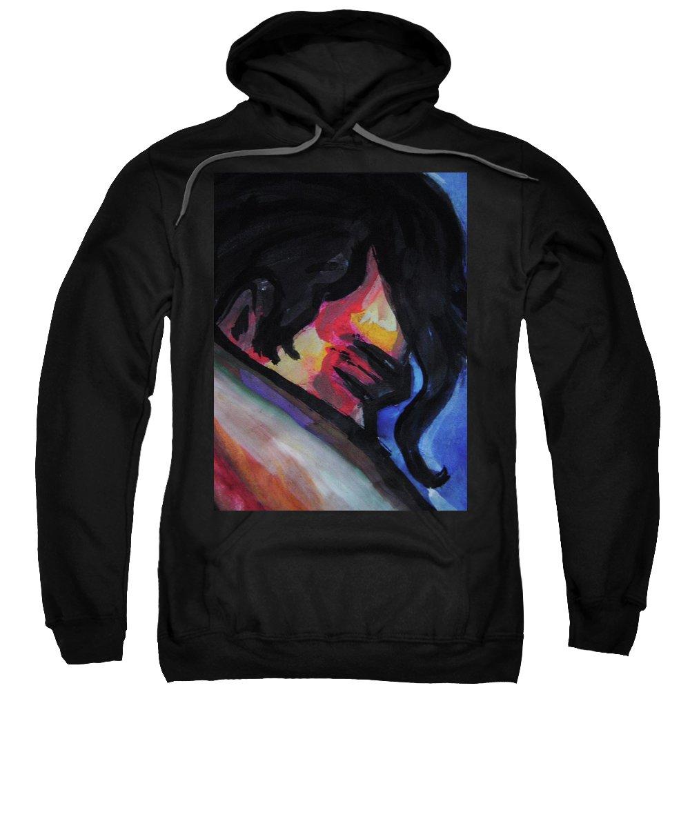 Man Sweatshirt featuring the painting Homem by Nila Poduschco