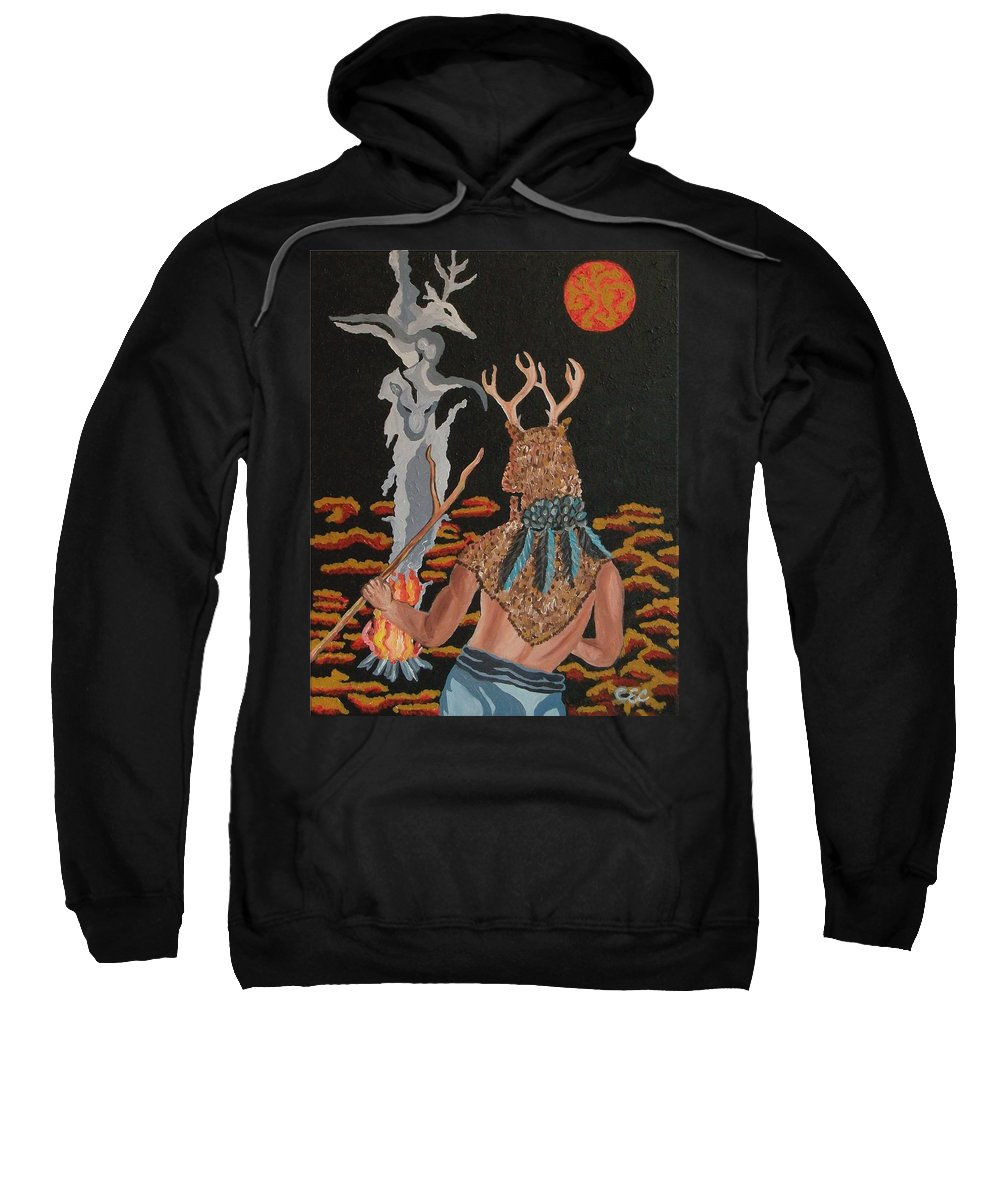 Native American Sweatshirt featuring the painting Honoring by Carolyn Cable
