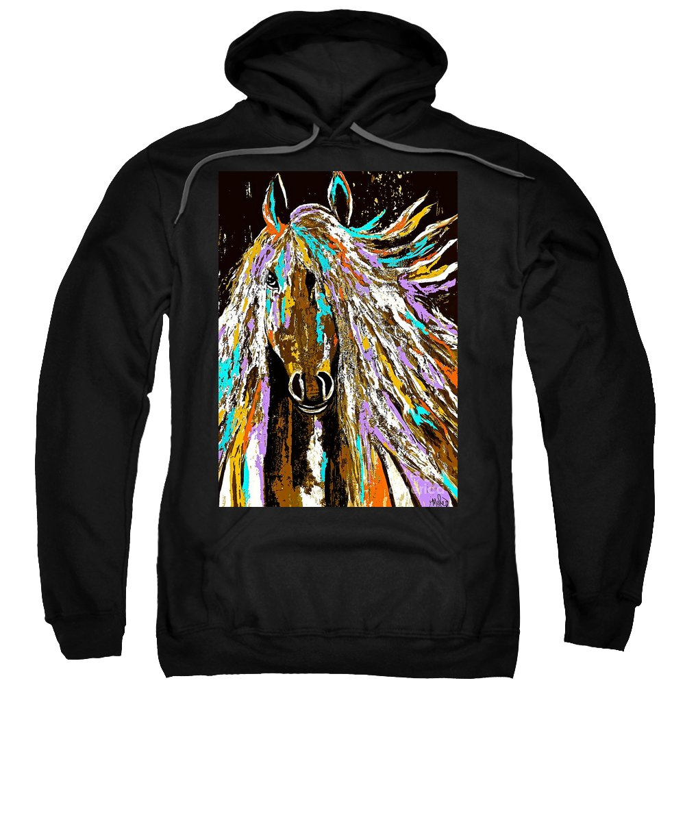 Horse Sweatshirt featuring the painting Horse Abstract Brown And Blue by Saundra Myles