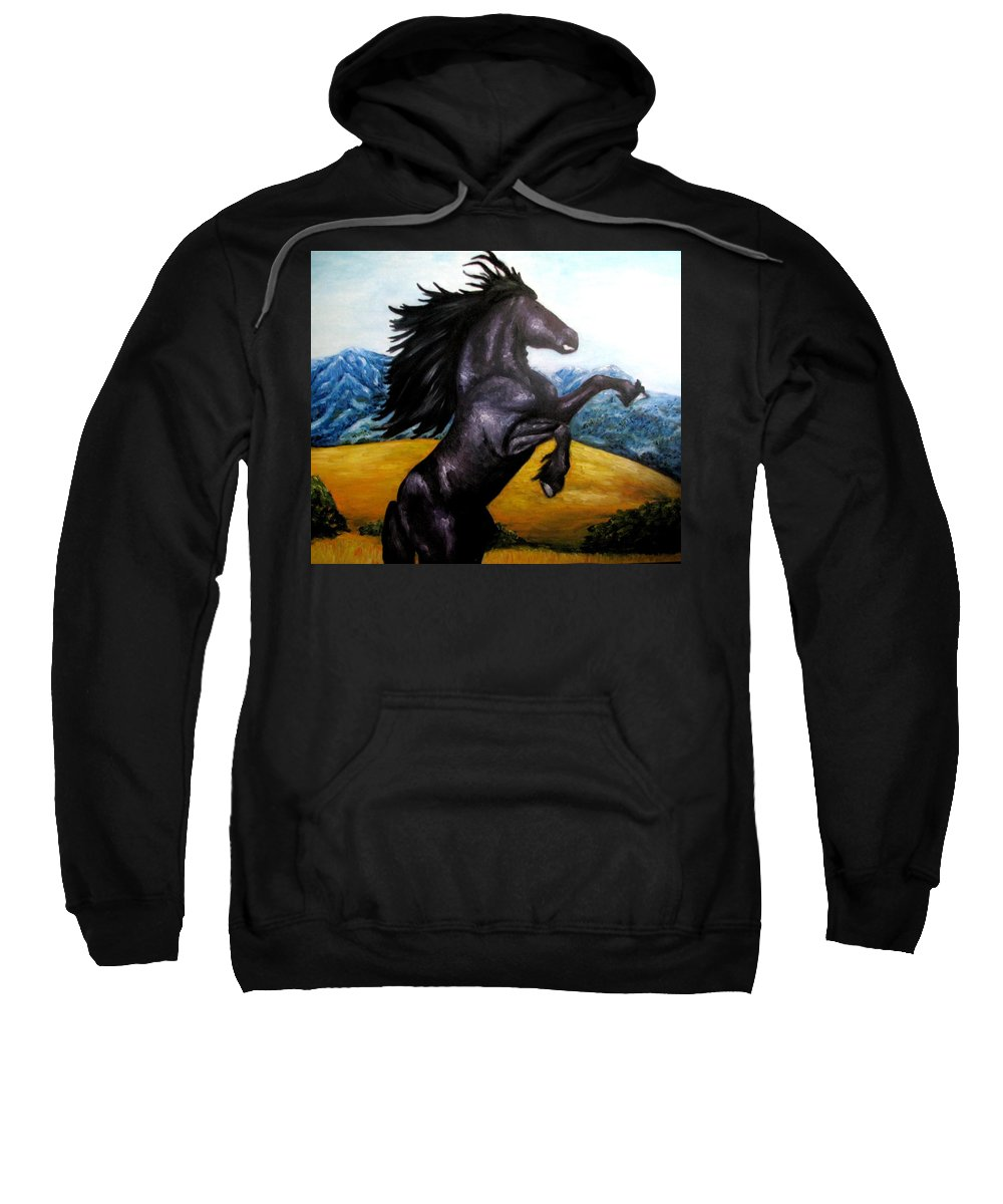 Horse Sweatshirt featuring the painting Horse Oil Painting by Natalja Picugina