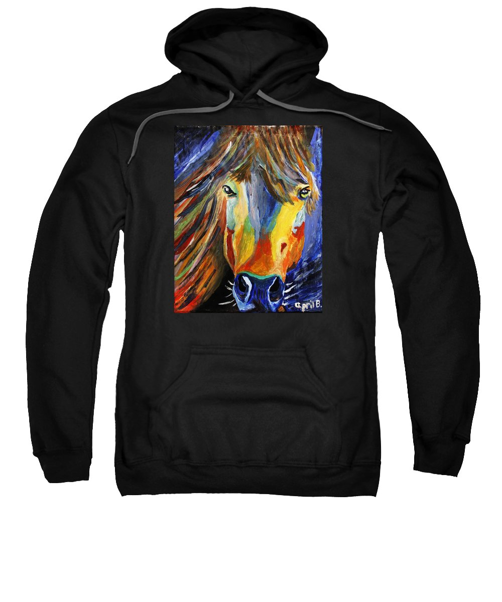 Horse Sweatshirt featuring the painting Horse One by April Harker
