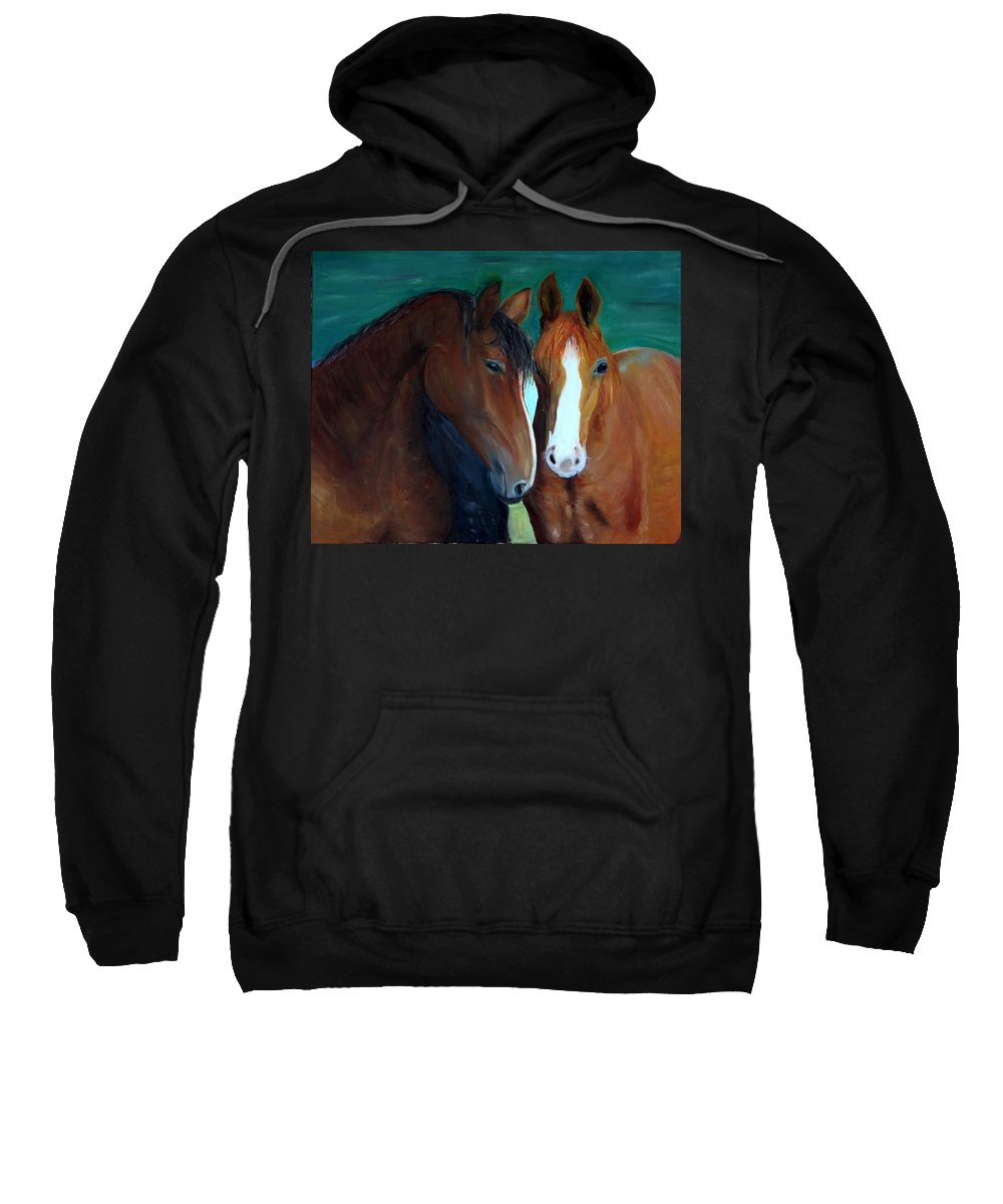 Horses Sweatshirt featuring the painting Horses by Taly Bar